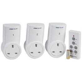 Remote control 13a sockets x 3 with remote inc battery