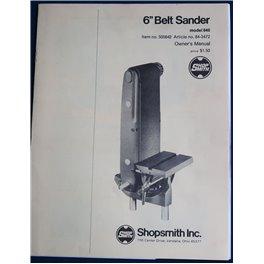 """Shopsmith 6"""" Belt Sander Model 640 printed manual"""